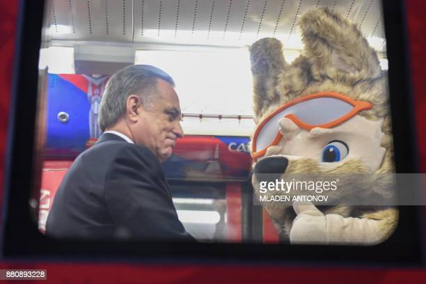 Russian deputy prime minister Vitaly Mutko chairman of the 2018 FIFA World Cup Russia Local Organizing Committee and Zabivaka the official mascot for...