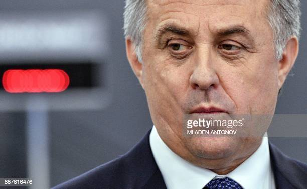 Russian Deputy Prime Minister Vitaly Mutko gives a speech at the opening of a FAN ID for the 2018 FIFA World Cup Russia distribution center in Moscow...