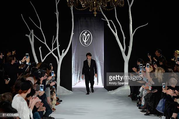 Russian Designer Valentin Yudashkin acknowledges the audience during the Valentin Yudashkin show as part of Paris Fashion Week Womenswear Fall/Winter...