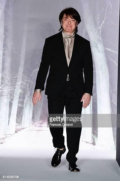 Russian Designer Valentin Yudashkin acknowledges the audience during the Valentin Yudashkin show as part of the Paris Fashion Week Womenswear...