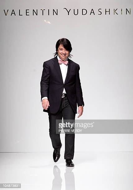Russian designer Valentin Yudashkin acknowledges the public following the Spring/Summer 2011 ready-to-wear collection show on October 6, 2010 in...