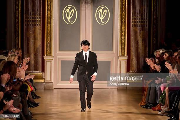 Russian designer Valentin Yudashkin walks the runway during the Valentin Yudashkin Ready-To-Wear Fall/Winter 2013 show as part of Paris Fashion Week...
