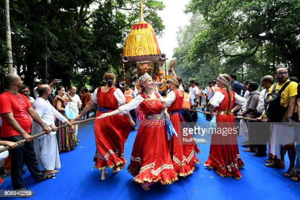 Russian devotees perform Russian flock dances during the ISKON organized 46 th Kolkata Rath Yatra festival Last day of the week long celebration of...