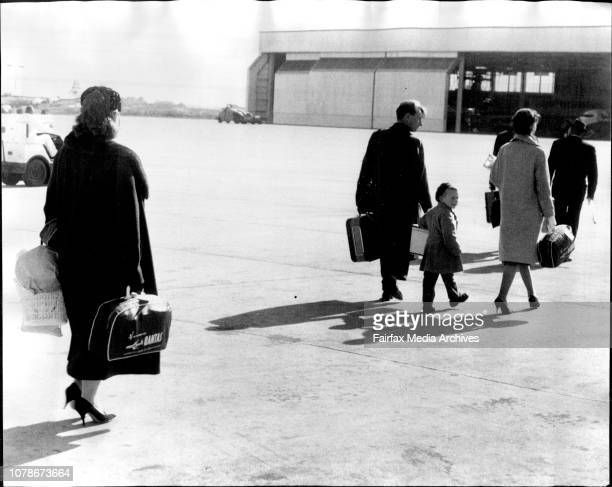 Russian diplomats leave at right V Andreev walks across to aircraft by Mr N Shtykov July 13 1962