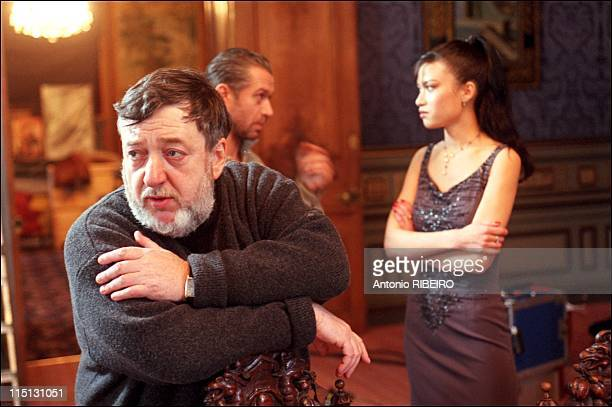 """Russian Director Pavel Lounguine: close up and shooting of his latest movie """"The Oligarch"""" in France on December 27, 2001 - During the shooting of..."""