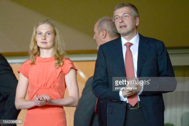 Russian Dmitry Rybolovlev President of AS Monaco and his daughter Ekaterina Rybolovleva attend the UEFA Champions League group C soccer match of AS...