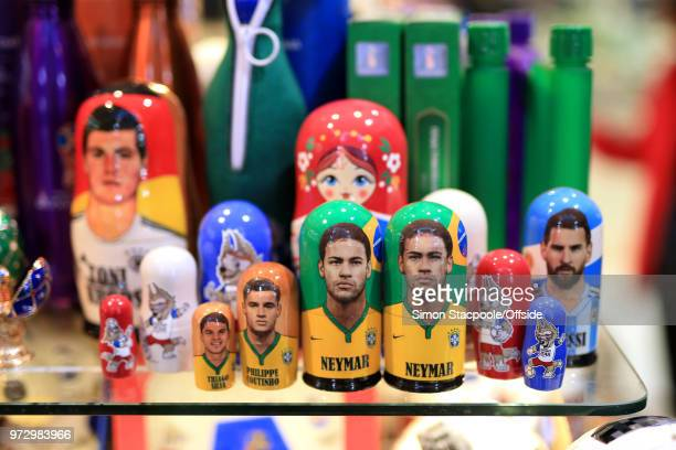 Russian dolls featuring the faces of Brazilian footballers Neymar Philippe Coutinho and Thiago Silva as well as Argentina star Lionel Messi for sale...