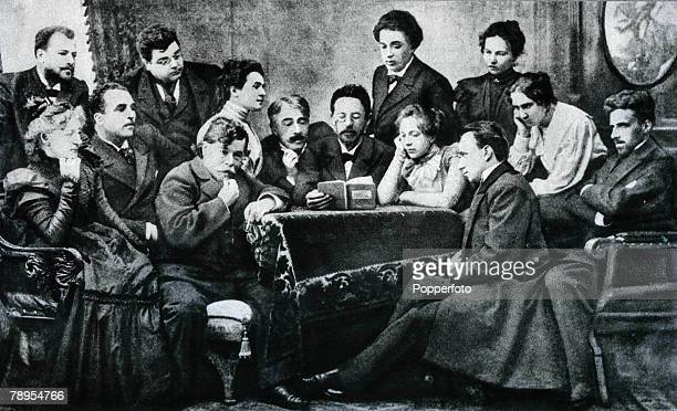 Russian dramatist and short story writer Anton Chekov 18601904 pictured reading his book The Seagull to the Moscow Art Theatre Group On his right is...
