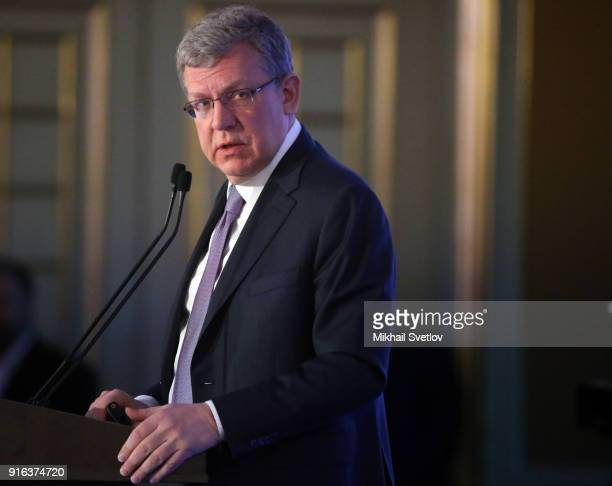 Russian Economist Alexey Kudrin speaks during the Congress of Russian Union of Industrialists and Entrepreneurs at the Ritz Calton Hotel on February...