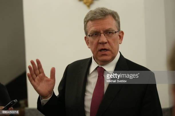 Russian economist Alexey Kudrin speaks to journalists after his meeting with President Putin at the Kremlin on May 30 2017 in Moscow Russia Russian...