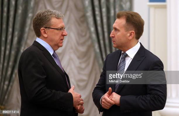 Russian Economist Alexey Kudrin talks to First Deputy Prime Minister Igor Shuvalov during the Strategic Development and Priority Projects Council at...