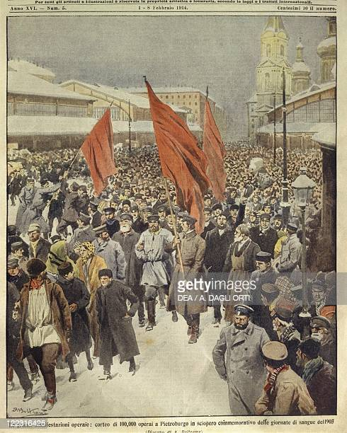 Russian Empire 20th century One hundred thousand workers march at Saint Petersburg to commemorate Bloody Sunday of 1905 Cover illustration from La...