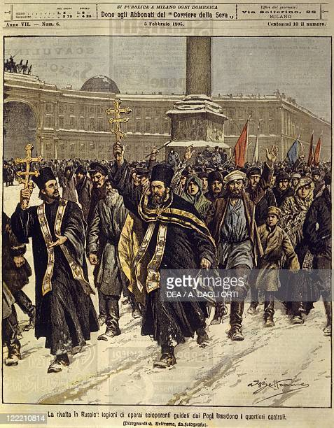 Russian Empire 20th century Russian revolution striking workers invade the centre of Saint Petersburg Cover illustration from La Domenica del...