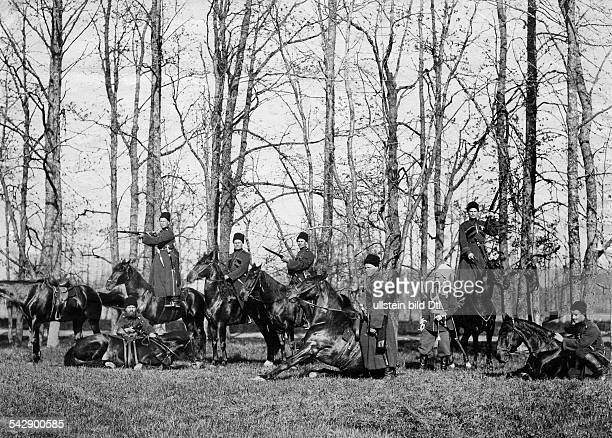 Russian Empire military exercises 1914Cossacks of the tsars life guards showing different exercises with horses St Petersburg spring 1902
