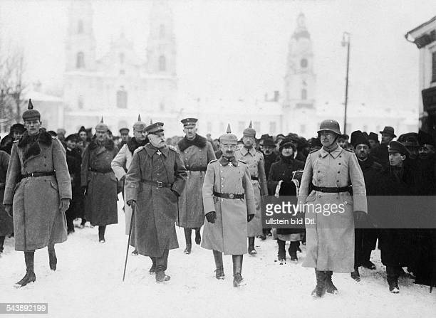 Russian Empire Russia Minsk Field marshal von Eichhorn with general von Bredow visting the city January 1918 Photographer Walter Gircke Vintage...