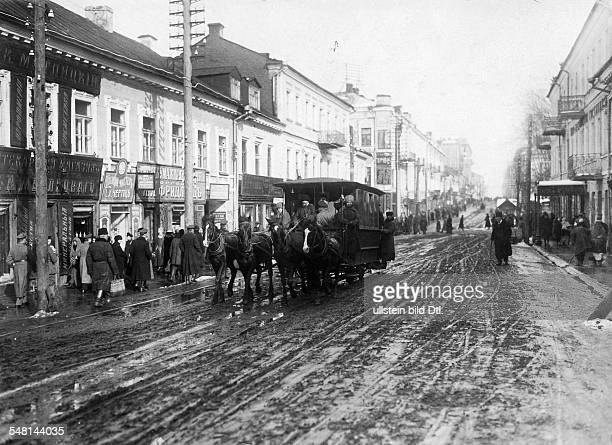 Russian Empire Ukraine Kijew / Kiev View of a street in Kiev in the wintertime 1917 Photographer Walter Gircke Vintage property of ullstein bild