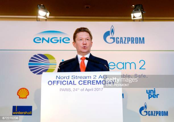 Russian energy group Gazprom CEO Alexei Miller delivers a speech during a signing ceremony for the Nord Stream 2 gas pipeline agreement in Paris on...