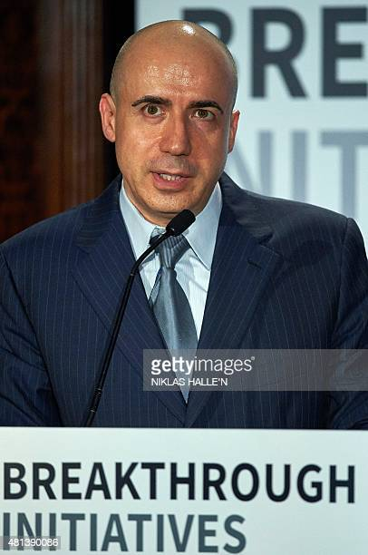 Russian entrepreneur and cofounder of the Breakthrough Prize Yuri Milner attends a press conference in London on July 20 where he and British...