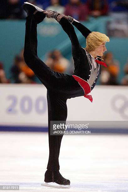 Russian Evgeni Plushenko performs his mens free skate program at the Olympic Ice Center 14 February 2002 during the XIXth Winter Olympics in Salt...