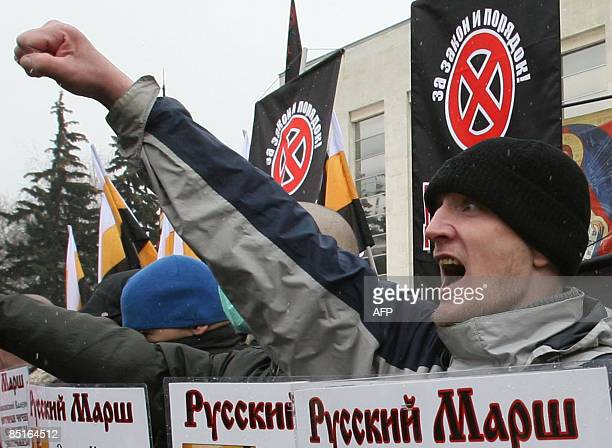 Russian extreme nationalists shout slogans against immigrants in Moscow on March 1, 2009 during a rally to honour troops killed fighting in Chechnya....
