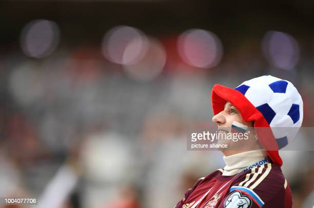 Russian fan in the stadium during the preliminary stage group A match between Russia and Portugal in the Spartak Stadium in Moscow, Russia, 21 June...
