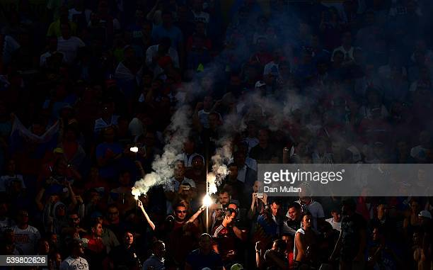 Russian fan lights flares during the UEFA EURO 2016 Group B match between England and Russia at Stade Velodrome on June 11 2016 in Marseille France