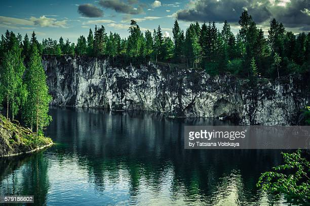 Russian Far North landscape in Ruskeala marble quarry, Karelia, Russia