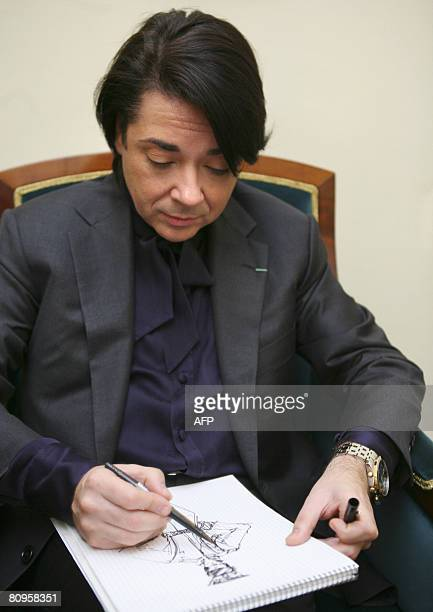 Russian fashion designer Valentin Yudashkin makes a sketch of a new Russian army uniform at his studio in Moscow on April 23, 2008. When the Russian...