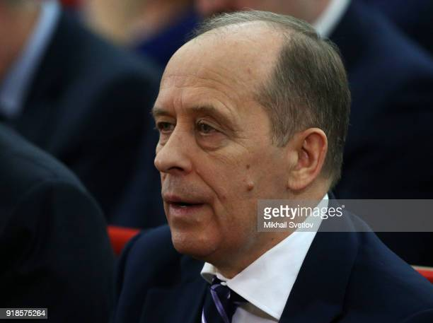 Russian Federal Security Service Chief Alexander Bortnikov attends the meeting of the Extended Board of the Prosecutor General's Office on February...