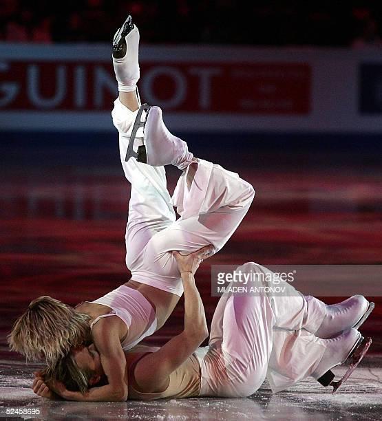 Bulgaria's Albena Denkova and Maxim Staviski perform during the Exhibition Gala of the 2005 World Figure Skating Championships at the Luzhniki Sports...