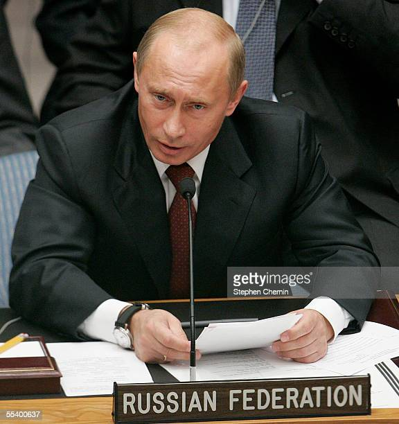 Russian Federation President Vladmir Putin speaks speaks during a United Nations Security Council meeting on September 14, 2005 in New York City. The...