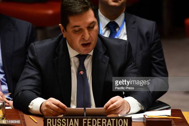 Russian Federation representative Vladimir Safronkov speaks The United Nations Security Council members heard a report on the status of...