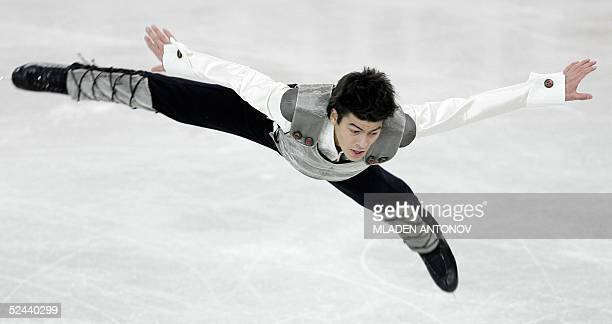 Swiss Stephane Lambiel performs during the Men Free Skating program of the 2005 World Figure Skating Championships at the Luzhniki Sports Palace in...