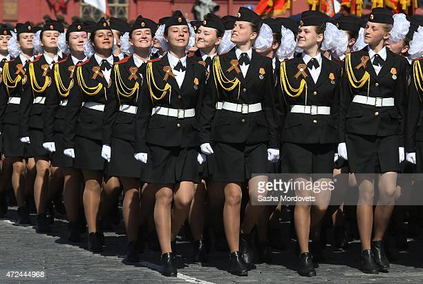 Russian female cadets march along Red Square during the final rehearsal of the Victory Day parade ahead of celebrations to mark the 70th anniversary...