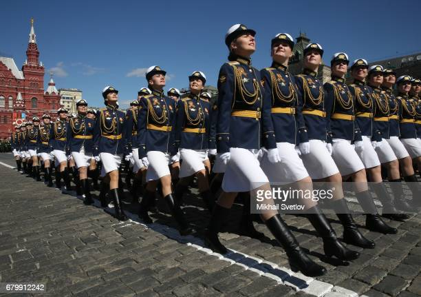 Russian female officers march along the Red Square during a rehearsal of the Victory Day military parade which will take place on May 9th to...