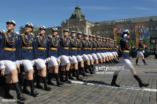 Russian female officers march during the Victory Day Red Square Military Parade in Moscow Russia May2018 Vladimir Putin and Israeli Prime Minister...