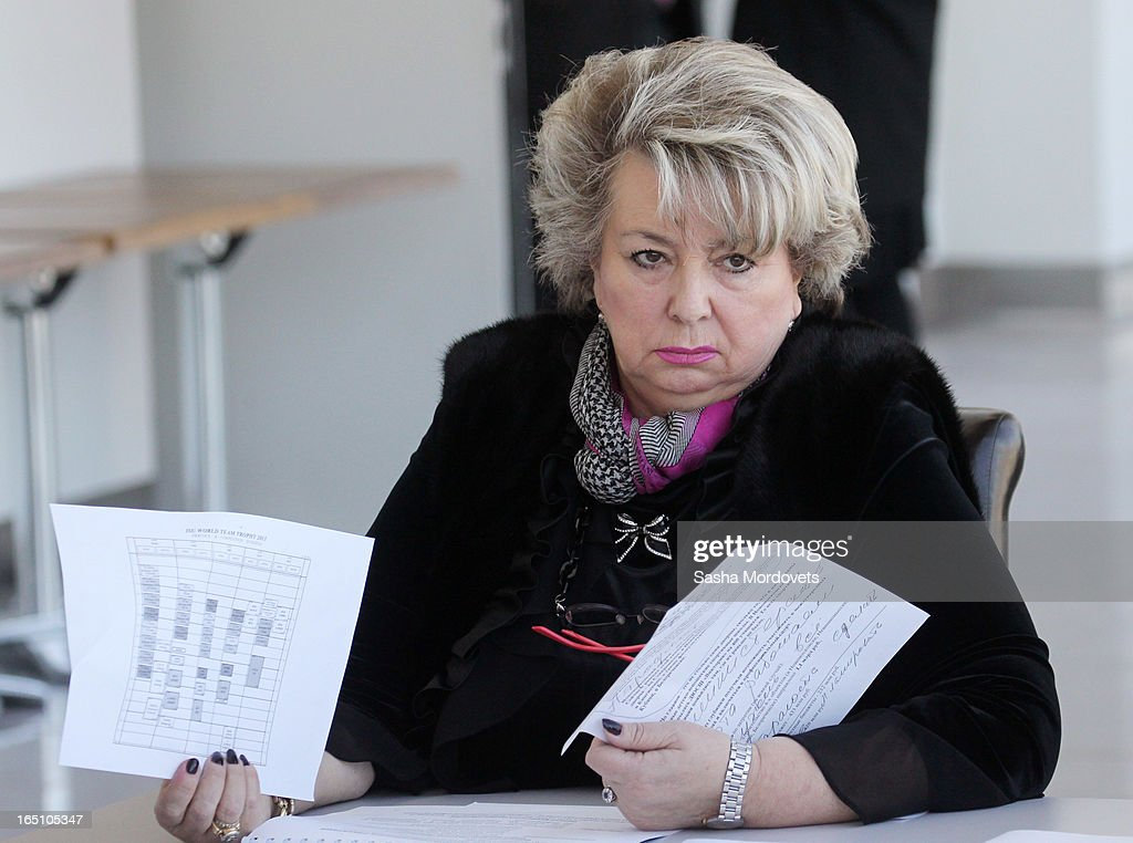 Russian Figure Scating coach Tatiana Tarasova attends a meeting with members of Russian Figure Scating Federation and Russian Ice Hockey Federation at the Bolshoy Ice Dome, an ice hockey arena in the Sochi Olympic Park on March, 2013 in Russia. Sochi will host the 2014 Winter Olympics.