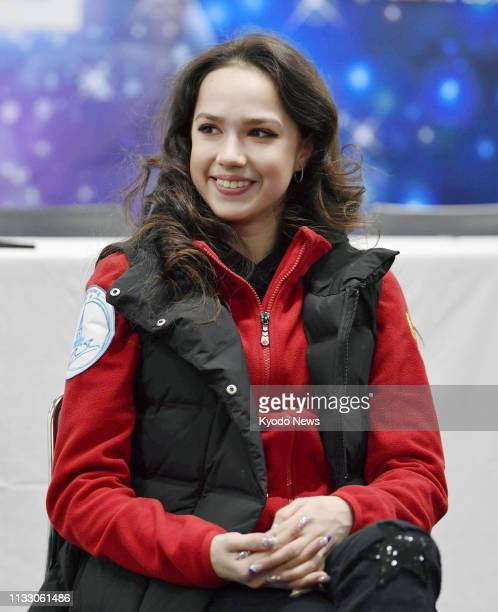 Russian figure skater Alina Zagitova gives an interview at Saitama Super Arena near Tokyo on March 23 a day after winning the world championships...