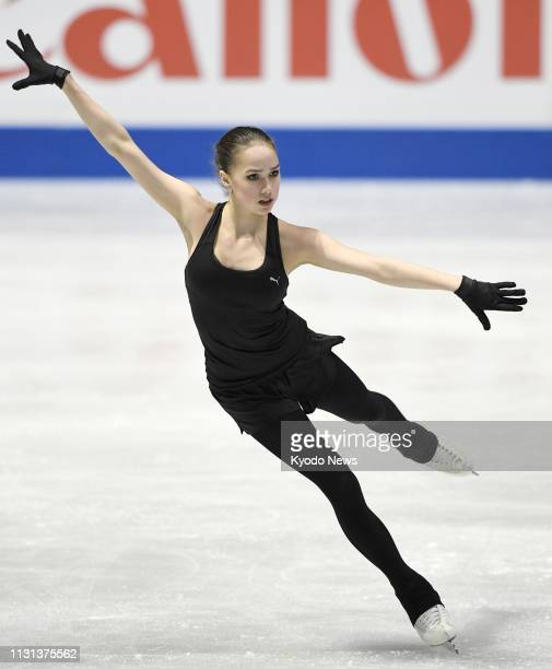 Russian figure skater Alina Zagitova takes part in official training in Saitama near Tokyo on March 18 for the World Figure Skating Championships set...