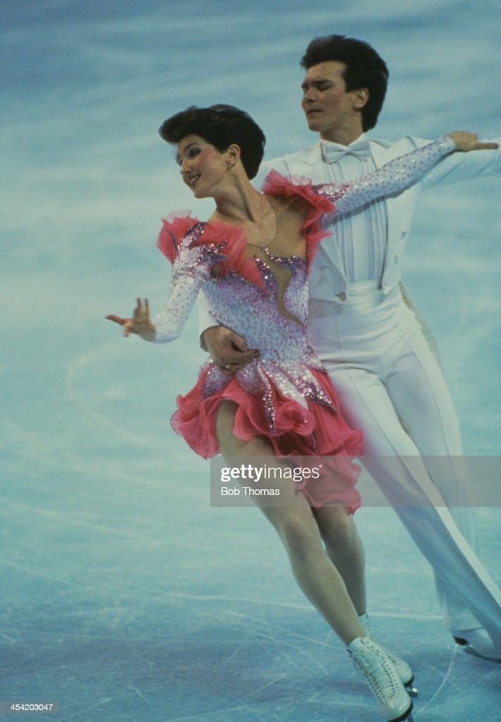 Russian figure skaters Marina Klimova and Sergei Ponomarenko during a performance at the World Figure Skating Championships, Cincinnati, USA, 9th - 15th March 1987.