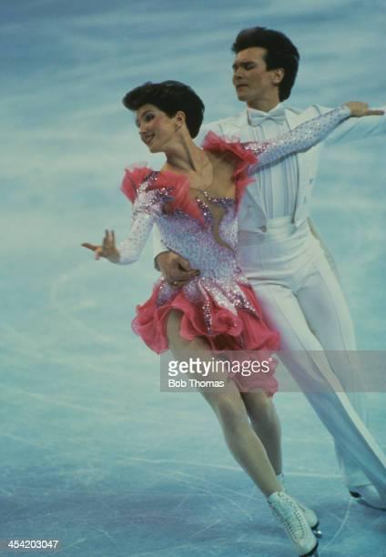 Russian figure skaters Marina Klimova and Sergei Ponomarenko during a performance at the World Figure Skating Championships Cincinnati USA 9th 15th...