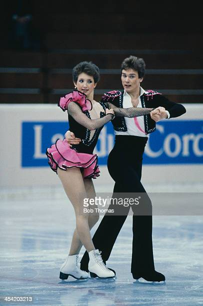 Russian figure skaters Marina Klimova and Sergei Ponomarenko during their performance at the European Figure Skating Championships Budapest Hungary...