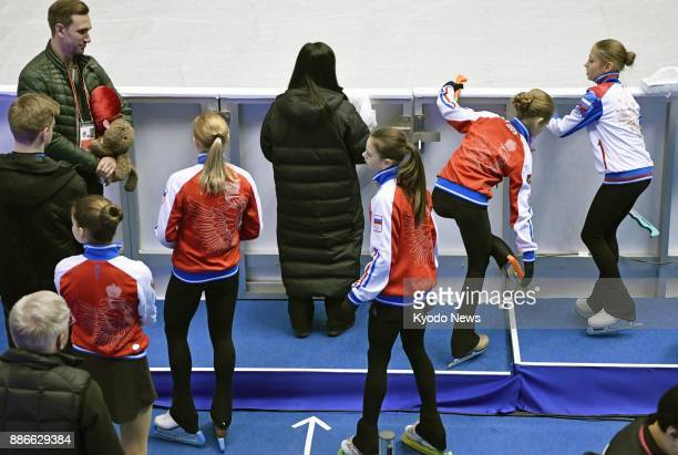 Russian figure skaters participate in official practice at the Junior Grand Prix Final in Nagoya central Japan on Dec 6 2017 The International...
