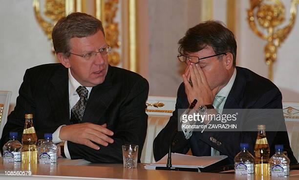 Russian Finance Minister Alexey Kudrin and Economy Minister German Gref at a meeting of the National Projects Council in the Kremlin in Moscow Russia...
