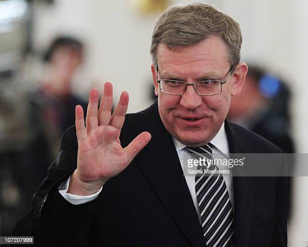 Russian Finance Minister Alexey Kudrin attends President Dmitry Medvedev's annual 'state of the nation' address to the Federal Assembly at the...