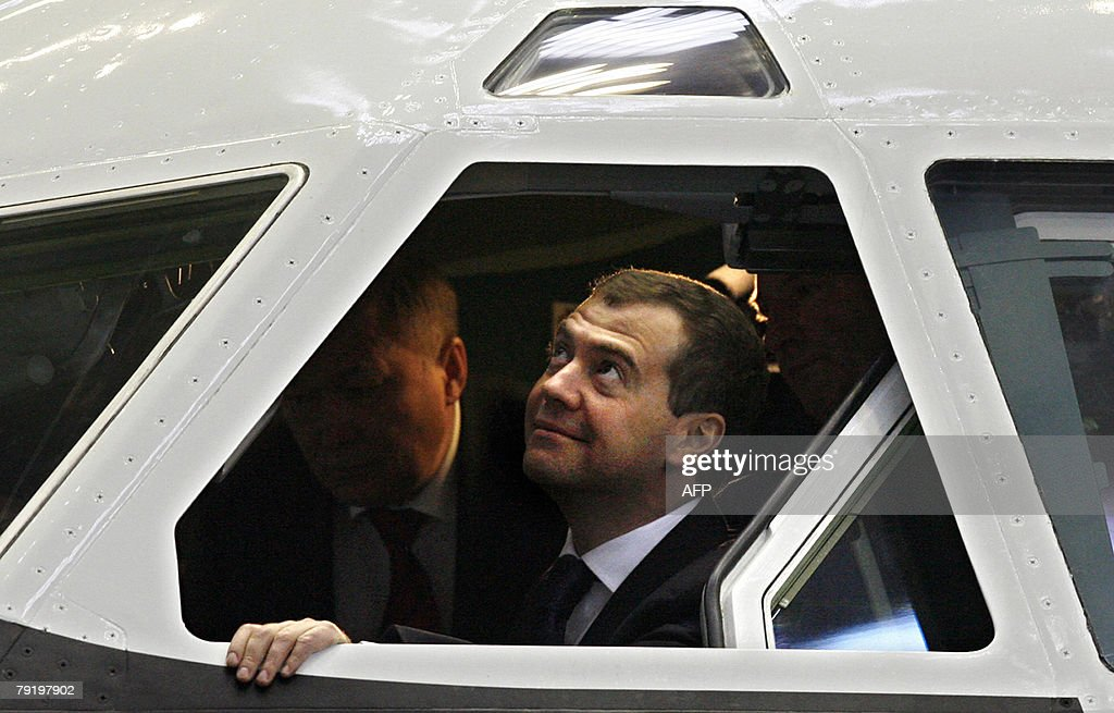 Russian First Deputy Prime Minister Dmitry Medvedev, top presidential candidate, sits in the cockpit of Russian Il-96-400T cargo jet produced at the Voronezh aircraft-making plant in Voronezh, some 475 kilometers (300 miles) south of Moscow, Russia, 24 January 2008. As the election drew close, Medvedev has traveled across Russian provinces in trips aimed to secure his overwhelming lead by catering to different groups of voters.