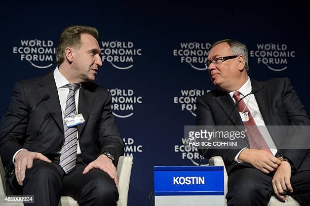 Russian First Deputy Prime Minister Igor Shuvalov speaks to Andrey Kostin Chairman and CEO of the Russian Bank VTB during a session of the World...