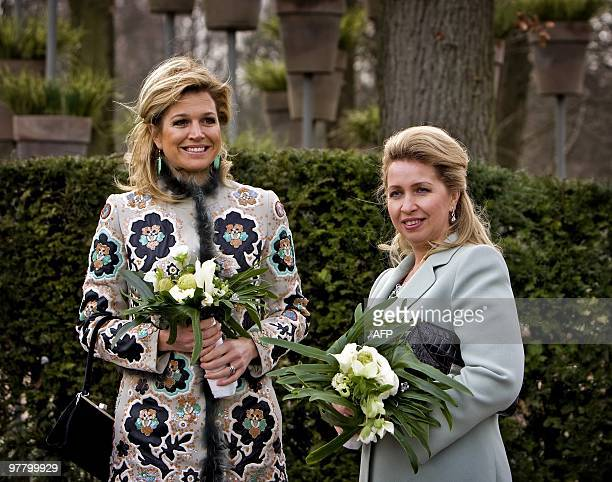 Russian first lady Svetlana Medvedeva smiles as she opens with Dutch princess Maxima the 61st annual flower show on March 17 at Keukenhof in Lisse...