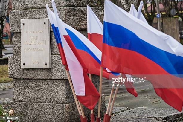 Russian flag in a memorial for the Red Army soviet army next to the entrance to Auschwitz camp during the celebrations of the 71st anniversary of the...