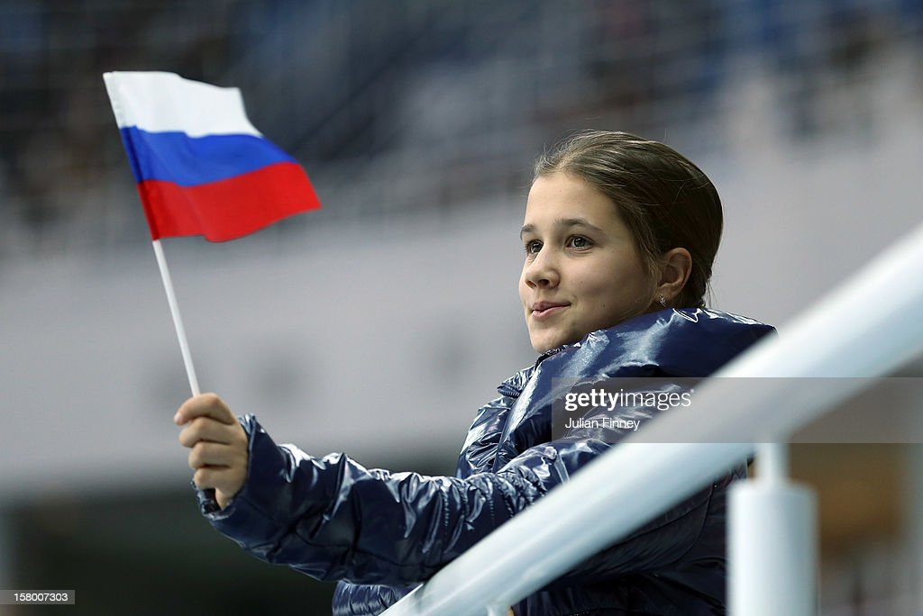 A russian flag is waved during the Grand Prix of Figure Skating Final 2012 at the Iceberg Skating Palace on December 8, 2012 in Sochi, Russia.